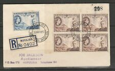 Northern Rhodesia FDC 1953 Rhodes 1/4d x 4 + 4 1/2d, registered at MUFULIRA, Imp