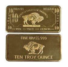 10 oz Ten Troy Ounce USA American Buffalo .999 Fine Brass Bullion Bar