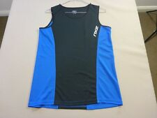 067 MENS NWOT 2XU BLACK / BLUE RUNNING / SPORT TANK TOP LRG $110 RRP.