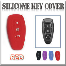 Fits FORD Mondeo Titanium Fiesta Escape Kuga Silicone Key Cover 3 Button *RED*
