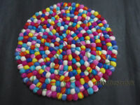 CU22 Hand Crafted Collectible Felt Ball wool 40 cm Decorative Cushion Round Rug