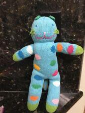 "Blabla Bubbles The Cat Kitty Blue Dots Circles Knit Baby Toy Plush Stuffed 10"""