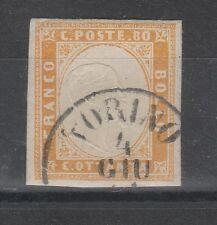 STORIA POSTALE 1860 SARDEGNA 80 C. GIALLO ARANCIO CHIARO TORINO 4/6 Z/141