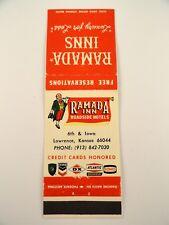 Matchbook Cover ~ RAMADA INN Roadside Hotels Lawrence, KS Front Strike 20 Diamon