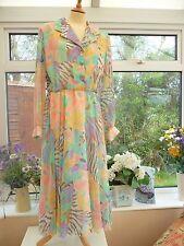 Vintage Gina Bacconi Tonos Pastel Floral Y Animal Print Floaty Gasa Vestido 18