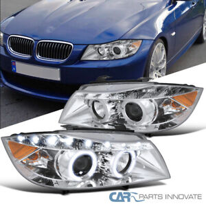 For 06-08 BMW E90 3-Series 325i 330i Clear Dual Halo Projector LED Headlights