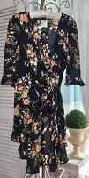 NEW ~ Plus Size 1X Black Coral Orange Floral Ruffle Duster Kimono Wrap Topper
