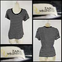 Zara Collection Woman Casual Formal Career Stripe Blouse Size Small S stretch
