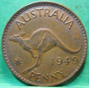 1949 Plain Australia 1d One Penny ** ERROR OFF CENTRE ** #2444
