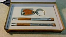 Vintage 2 Ballpoint Pens and Key Ring Set Original Box - unmarked