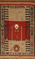 4'x5' Tribal Geometric Kilim Hand-Woven Area Rug Classic Oriental Kitchen Carpet