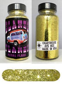 Blakes Metal Flake .015 Chartreuse Gold  Hot Rod custom automotive 2oz jar