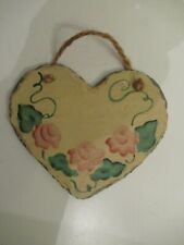 Beautiful floral painted hanging slate stone heart