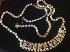Breast Chain Necklace Estate Jewelry Vintage Rhinestone Crystal Glass 17� Choker