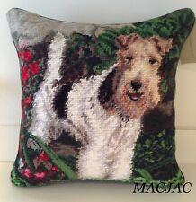 "Fox Terrier Dog Needlepoint Pillow 14""x14"" Nwt"