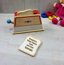 Personalised Toy Wooden Toaster Toast Toy Food Set Baby Toddler Gift Birthday