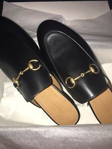 NEW GUCCI Women Princetown Leather Black Mules Sleeper Loafers Shoes EU 41/US 11