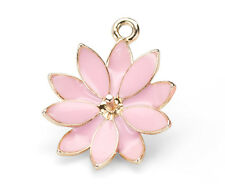 2PCs Pink Flower Pendant With Gold Plating and Pink Enamel For Half-Drilled Bead