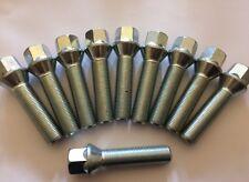 10 X M14X1.25 Plata Aleación Pernos De Rueda Extendida 43 mm rosca se adapta a BMW 1 ver lista