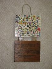 Fruit & Floral Themed U.S. Stamps Plaque Reclaimed Wood Wall Decor Art Handmade