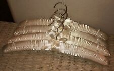 4 Pc Lot New Bow Satin Fabric Ivory Padded Hangers with A Pearl On Each End
