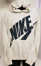 Nike White Hoodie Black Swoosh pullover Good Condition some faint stains