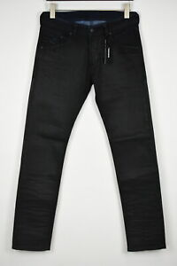DIESEL BELTHER Men's W28 L31 Stretch Waxed Look Black Jeans 11436 mm