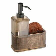 mDesign Kitchen Sink Countertop Liquid Hand Soap/Sponge Caddy - Sand/Bronze