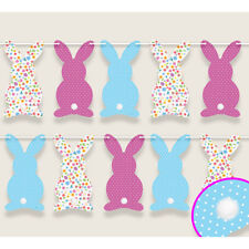 Paper Bunny Rabbit Easter Bunting with Pom Pom Tails