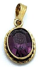 14k Yellow Gold Oval Purple Amethyst Braided Rope Bezel Pendant Vintage Estate