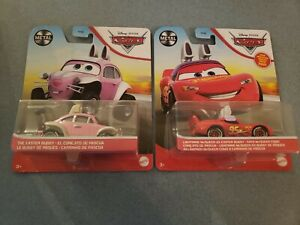 Lot of 2 Disney Cars Diecasts - Easter Buggy & Lightning McQueen as Easter Buggy