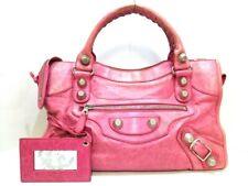 Auth BALENCIAGA The Giant City 173084 Pink Leather Handbag