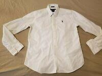 Womens Polo Ralph Lauren Dress Shirt 14 Slim White Button Cotton Blouse