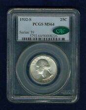 1932-S WASHINGTON QUARTER/25 CENTS, CHOICE UNCIRCULATED CERTIFIED PCGS MS64-CAC