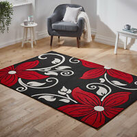 Large Modern Thick Black Red Floral Flower Quality Sale Area Low Cost Rug New