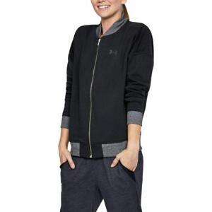 NWT Under Armour Women's Threadborne Fleece Bomber Jacket,Black/Tonal M L XL $80