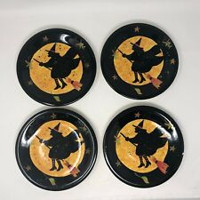 4 Certified International Witch Susan Winget Ceramic Salad Plate Hand Painted 8""