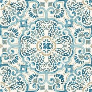 WallPops Bathroom/Kitchen Frontaine Peel & Stick Floor Tiles Blue 10pk FP2477