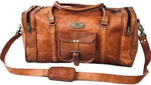 "25"" Leather Duffle Weekend Travel Gym Overnight Bag Journey Luggage Holdall Bag"