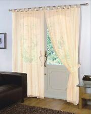 Pair of Cream 59'' x 90''  Voile Net Tab Top Curtain Panel + Tie Back
