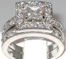 Antique 2.33 Ct. Princess Cut Cubic Zirconia Engagement Wedding Ring Set- SIZE 8