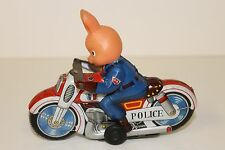 Tin Motorcycle Toy  Haji Police Rabbit Animal Motorcycle made in Japan in 1960's