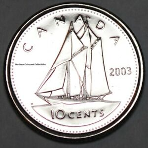 Canada 2003 P New Effigy BU Nice UNC 10 cent Canadian Dime from mint roll