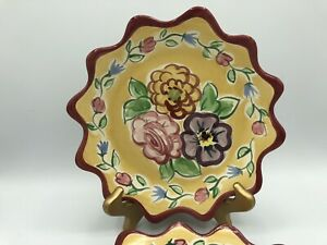 """2 Vintage Fioriware Art Pottery Hand Painted Floral Scalloped Bowl Plates 8.5"""""""