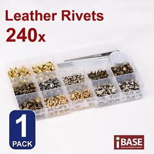 240 Set Leather Double Cap Rivets Belt Craft Tubular Studs Fixing Tool Kits DIY