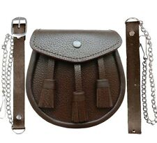 New Scotish Brown LEATHER Kilt SPORRAN And Belt 3 Tassels Leather Sporran 02