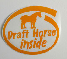 DRAFT belgian HORSE farm decal TRAILER helmet cart pull percheron STICKER yellow