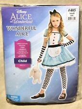 "Disney Alice in Wonderland ""Wonderful Alice"" 5 Piece Costume -New, Girl's Sm 4-6"