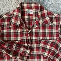 Guymont Vintage 50s Small Red Plaid Loop Collar Shirt Rockabilly Square S