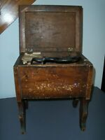 Antique Wooden Shoe Shine Box with Horse Hair Brush
